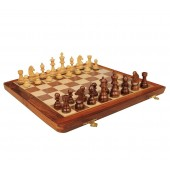Folding Wooden Chess Game Board Set 12 inches with Magnetic Crafted Pieces