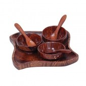 Wooden kitchen ware Dry Fruits Tray & Snacks With 3 Bowl & 3 Spoon