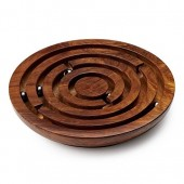 Wooden Board Game Round Labyrinth Diameter 8 Inches - 5 Balls